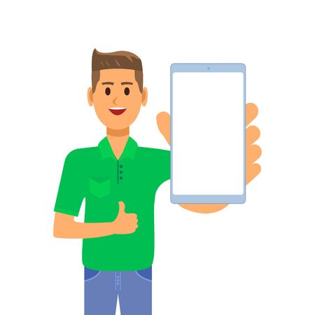 A young businessman is standing in a green shirt, smiling and showing a smartphone screen in his hand. The guy shows a thumbs up and holds a smartphone. Illustration