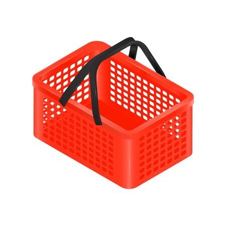Isometric red shopping basket with black handles.