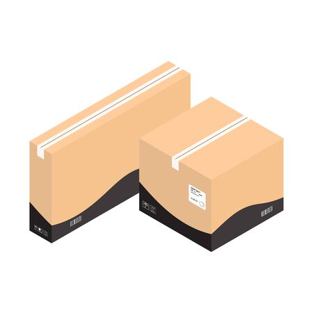 Two isometric parcel boxes. Delivery service isometric boxes isolated on white.