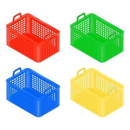 Isometric Shopping Basket set, red,yellow, blue and green color.
