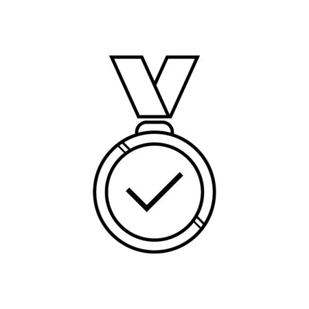 Check mark medal with ribboins, outline, isolated on white.