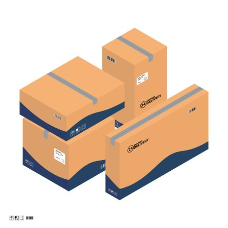 Four carton isometric parcel boxes for express delivery service. Isometric parcel boxes sealed with tape, with freight signs and stickers. Illustration