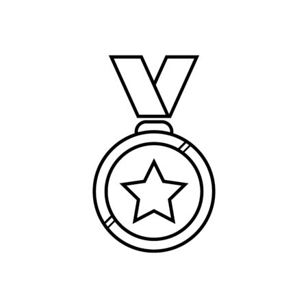 Round outline medal with big star, best quality product sign or military award badge. Medal with big star inside for award.