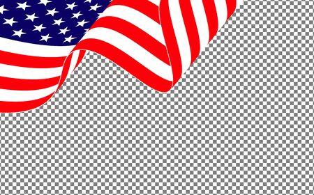 American waving flag on transparent background.