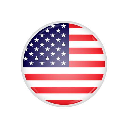 Round badge with american flag and lens flare on it. American flag round badge with glares on it. Glossy round button with american flag inside, isolated on white.