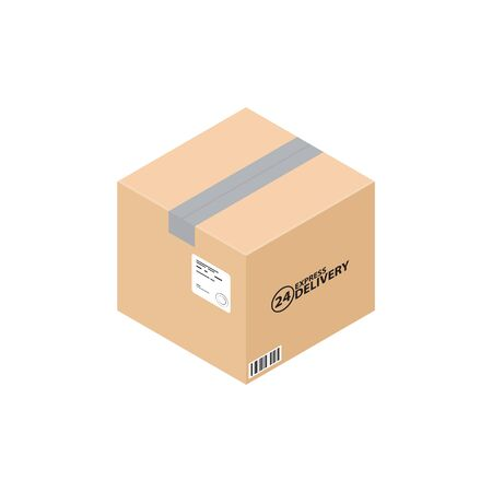Isometric carton box. Express delivery carton box, isolated on white. Carton mail box ready for delivery.