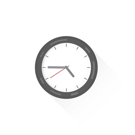 Wall clock with shadow showing the time. Wall clock isolated on white. Wall clock in gray with hour and minute hands, flat style. Illustration
