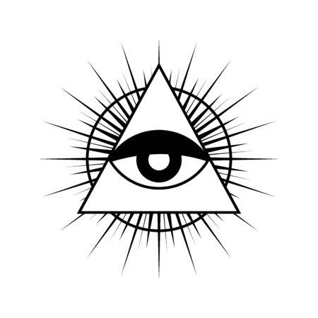 Simbolo dell'occhio che tutto vede con triangolo. Triangolo con occhio, occhio che tutto vede, isolato su bianco.