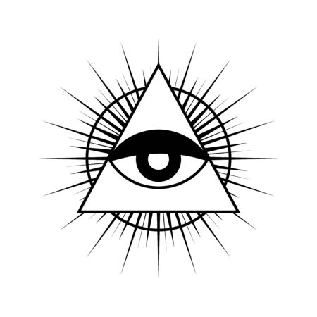 All seeing eye symbol with triangle. Triangle with eye, all seeing eye, isolated on white.