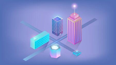 Isometric city with skyscraper and buildings on a blue background. Isometric city with buildings and skyscraper isolated on blue background. Illustration