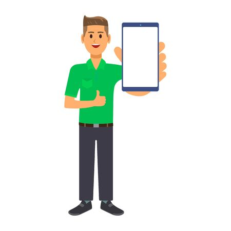 A young businessman is standing in a green shirt, smiling and showing a smartphone screen in his hand. The guy shows a thumbs up and holds a smartphone. Illusztráció