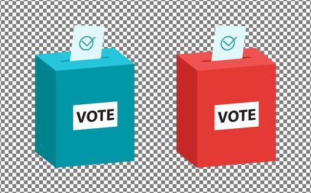 Isometric ballot in a ballot box, red and green color set. Vote bulletin into vote isometric box isolated on transparent background.