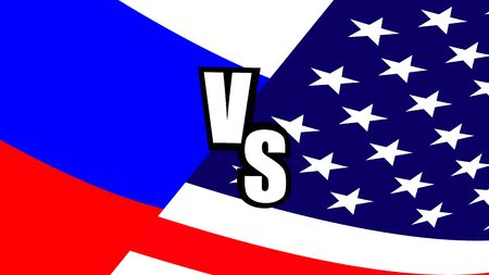 Russia vs Usa flags banner. Political, economic and military confrontation between America and Russia in a banner with the flags of two countries.