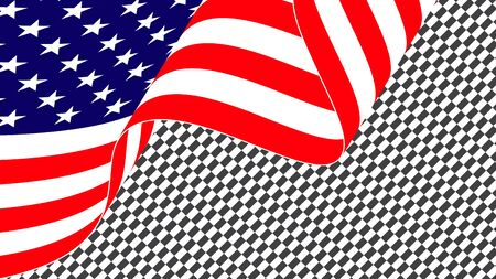 American waving flag of the united states of america or USA. Waving American flag isolated on transparent background.