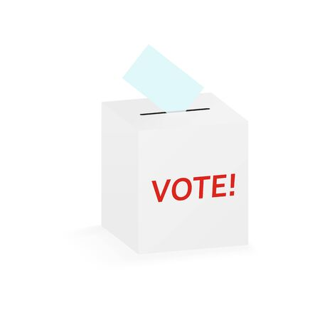 Vote bulletin into vote isometric box isolated on white background.  Isometric ballot in a ballot box, white color with shadow.