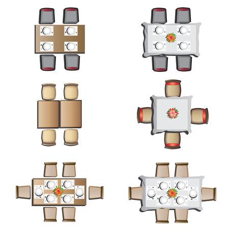 sillon: Comedor vista muebles de alta set 1 para el interior, ilustraci�n vectorial