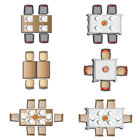 Dining furniture top view set 1 for interior, vector illustration