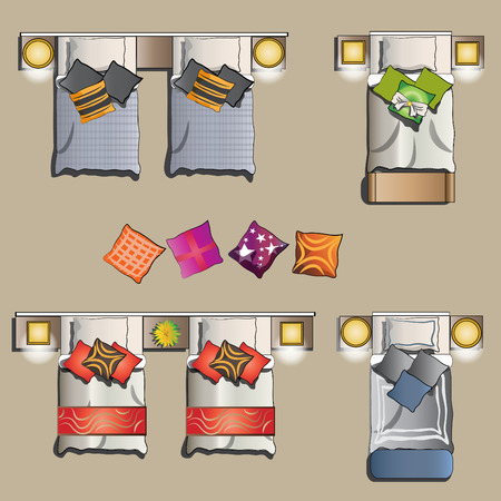 Twin bed set top view for interior, vector illustration