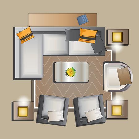 リビング ルーム家具上面セット ベクトル イラスト インテリア 2 写真素材 - 45016271