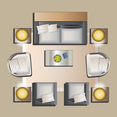 table top: Living room furniture top view set 5 for interior ,vector illustration