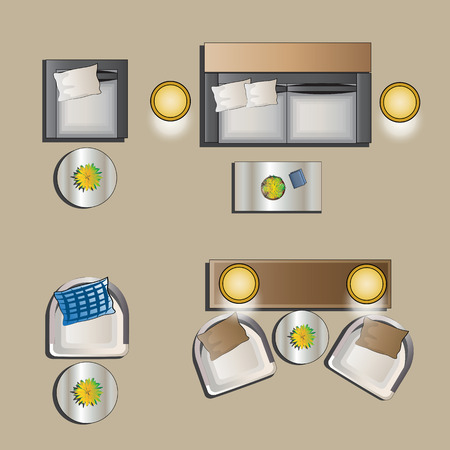 round chairs: Living room furniture set 4 top view for interior , vector illustration Illustration