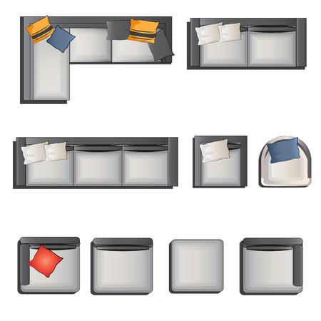 red couch: Vista dall'alto Tavolo con le 1 per interni, illustrazione vettoriale