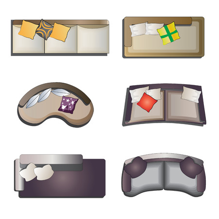 red couch: Sofa top view set 2 for interior , vector illustration