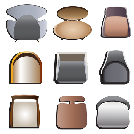 amenities: Chairs top view set 4 for interior , vector illustration Illustration