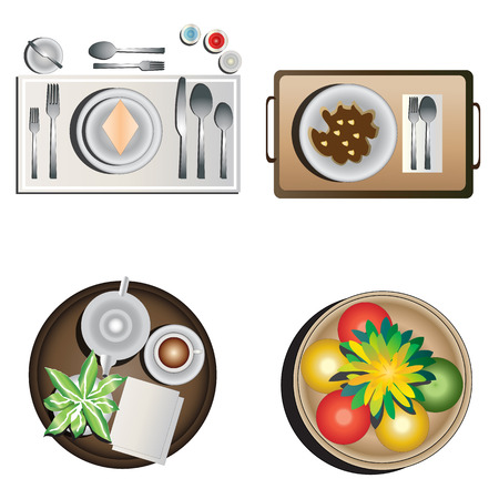 table decoration: Table decoration top view set 1 for interior ,vector illustration