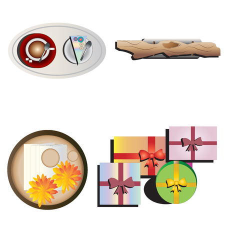 table decoration: Table decoration top view set 4 for interior ,vector illustration