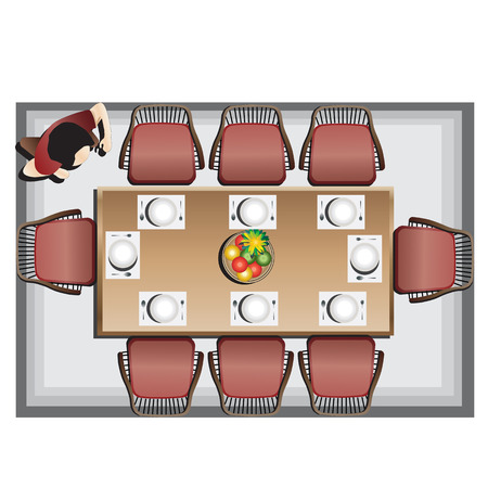 dining table and chairs: Dining furniture top view set 3 for interior, vector illustration