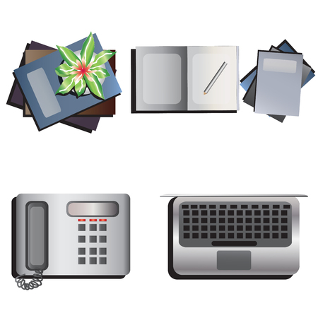 table decoration: Table decoration top view set 2 for interior ,vector illustration