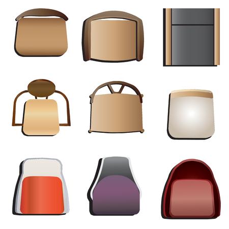 椅子トップ ビュー セット インテリアとして、ベクトル図 5  イラスト・ベクター素材