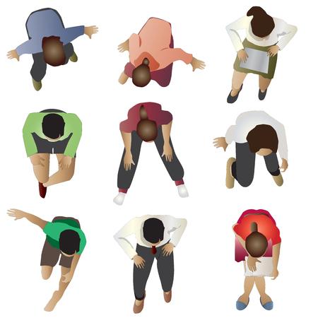 La gente sentada vista superior, conjunto 3, ilustración vectorial Vectores