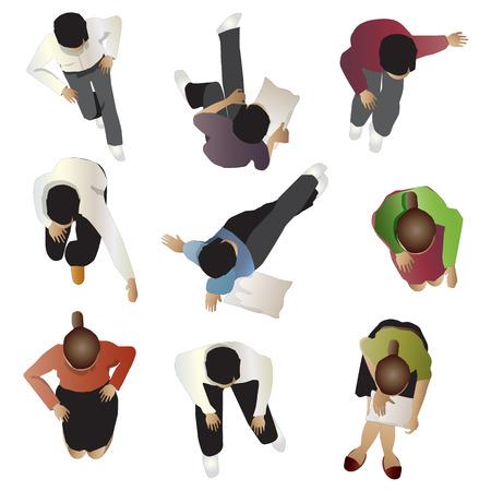 Mensen bovenaanzicht zitten, set 4, vector illustratie