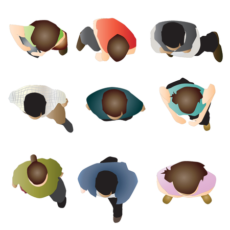 view: People sitting top view, set 2, vector illustration