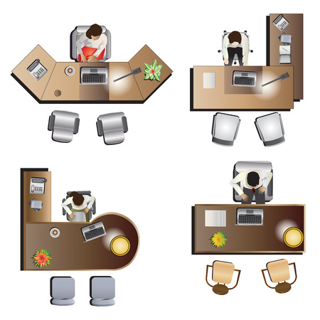 office Furniture top view set 6 for interior , vector illustration Çizim