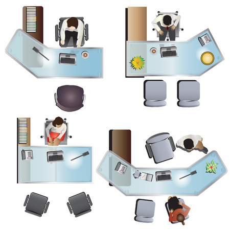 office furniture top view set 7 for interior , vector illustration Çizim