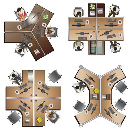 オフィス家具トップ ビューを設定するインテリアとして、ベクトル図 8