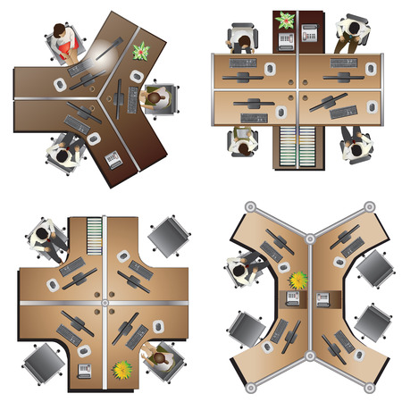 office Furniture top view set 8 for interior , vector illustration Illustration