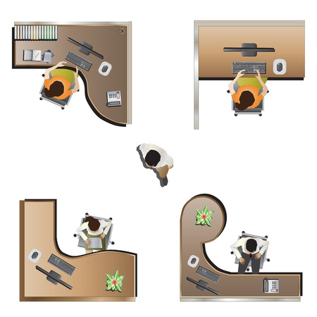 office furniture top view set 9 for interior , vector illustration