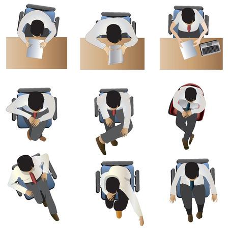 Les gens assis vue de dessus ensemble 6, illustration vectorielle Vecteurs