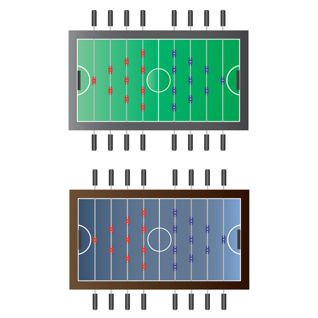 foot ball: Game room, Foot ball table top view for interior, vector illustration