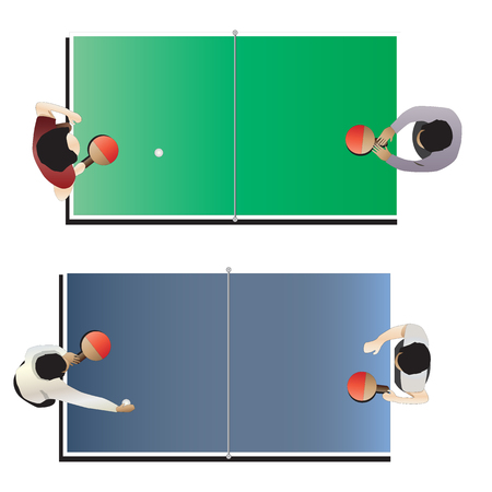 table top: Game room , Table tennis top view for interior, vector illustration