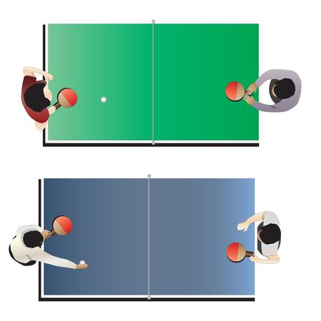 tischtennis: Spielzimmer, Tischtennis Draufsicht f�r den Innen-, Vektor-Illustration
