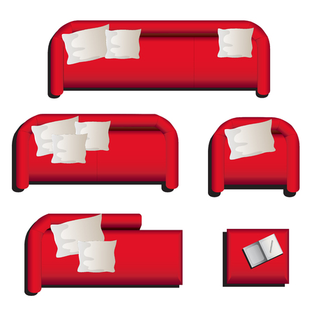 sofa set: Furniture top view set 27 for interior ,vector illustration, red sofa Illustration