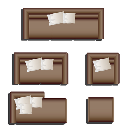 Furniture top view set 28 for interior ,vector illustration, brown sofa
