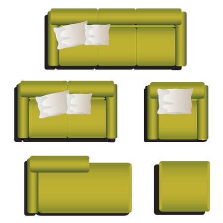 green sofa: Furniture top view set 29 for interior ,vector illustration, green sofa Illustration