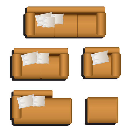 couches: Furniture top view set 30 for interior ,vector illustration
