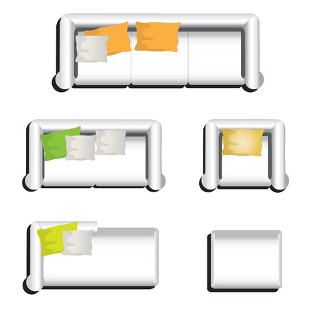 white sofa: Furniture top view set 31 for interior ,vector illustration, white sofa Illustration